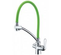 """LM3070C-Green """"Комфорт"""" Смеситель для кухни, с гибким изливом, с подкл. к фил пит. воды хром, зел."""