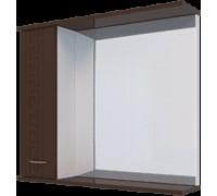 Шкаф навесной, 1 дверь + зеркало, 600, (Троя, Белый снег, Молочный глянец)
