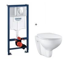 Комплект инсталляции Grohe Rapid SL + унитаз безободковый Grohe Bau Ceramic с сиденьем