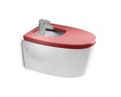 Биде подвесное Roca KHROMA с сиденьем красного цвета
